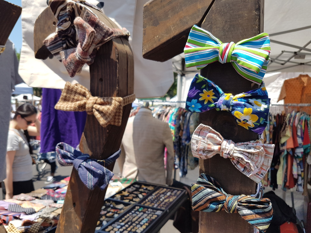 Some of the flashy bow ties made by Travis Sylvester at Fort Greene Market in Brooklyn. (Photo credit: Jane Adey)