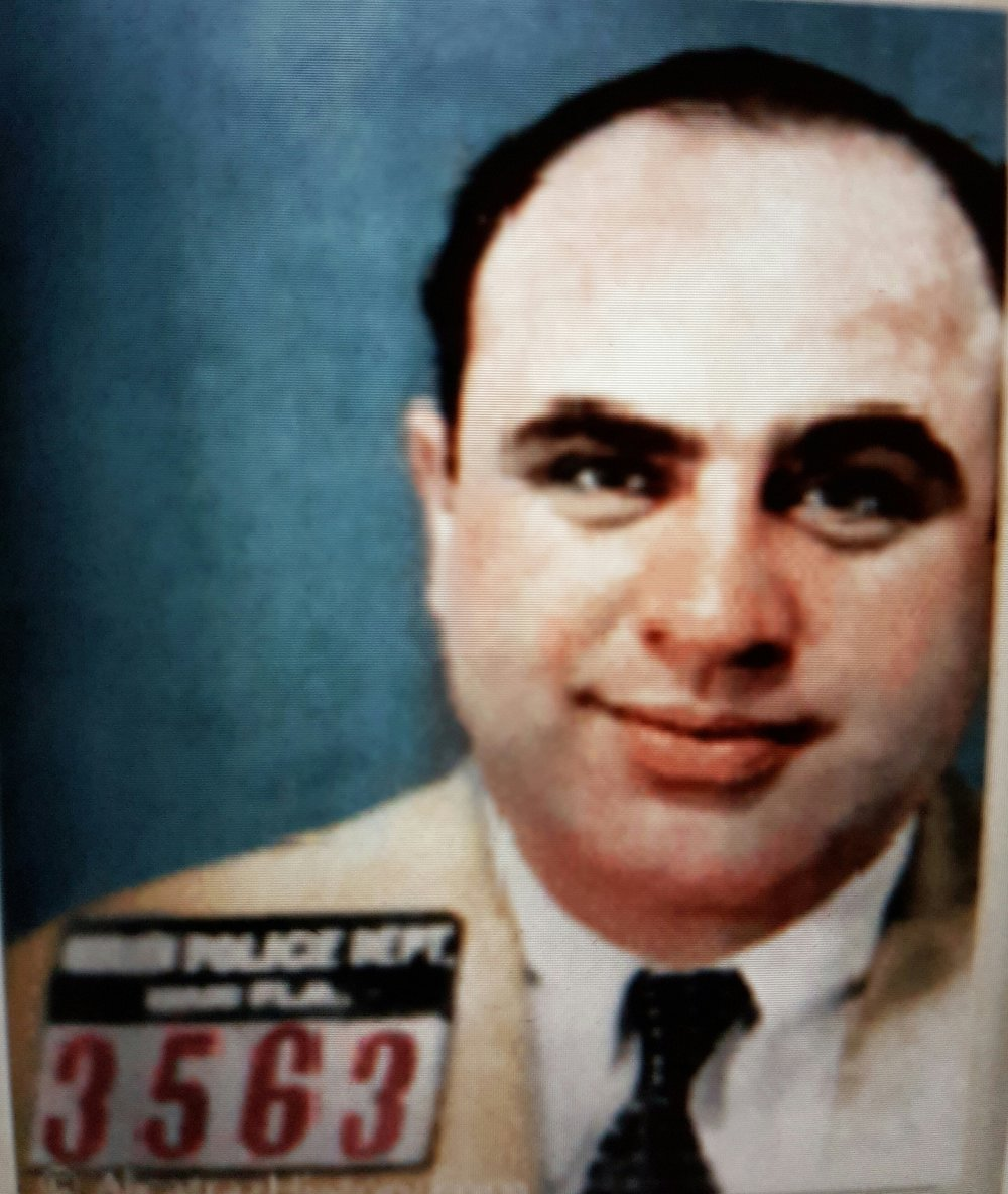 Police photo taken of Capone in Miami. Courtesy of  www.alcatrazhistory.com