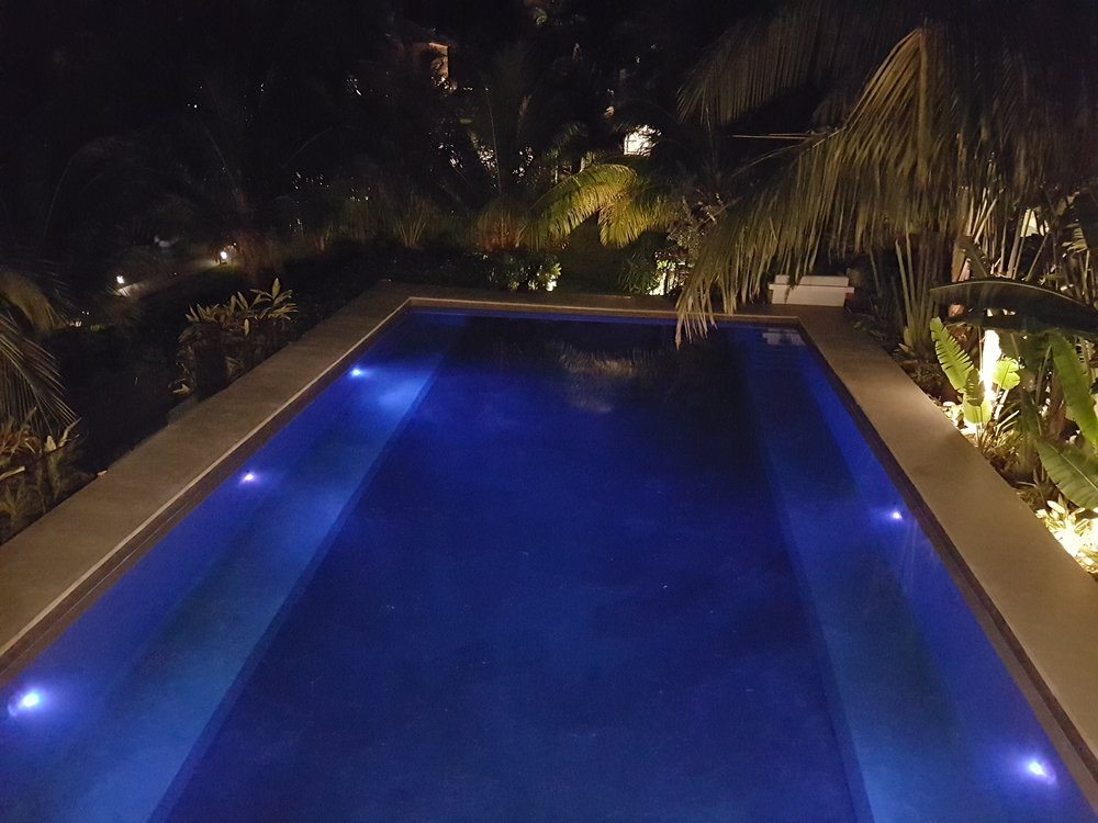View of pool from pool cabana.