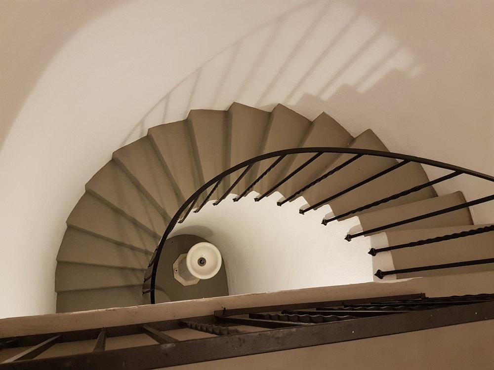 Stairway to 2nd floor of pool cabana. (Jane Adey)