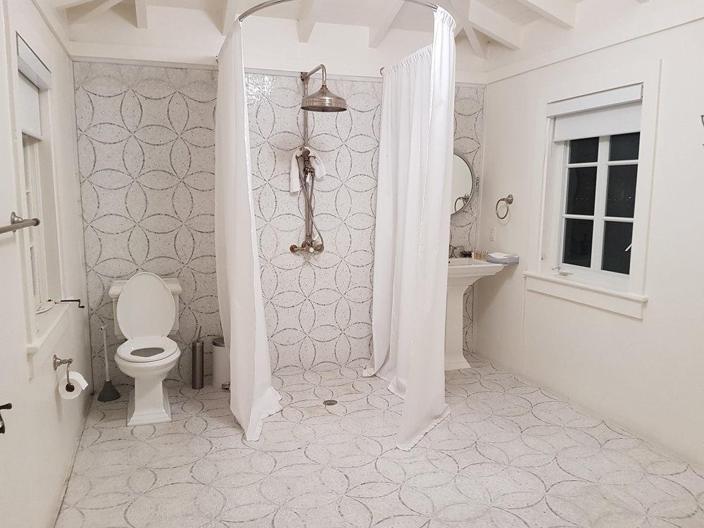 Shower room in pool cabana. (Jane Adey)