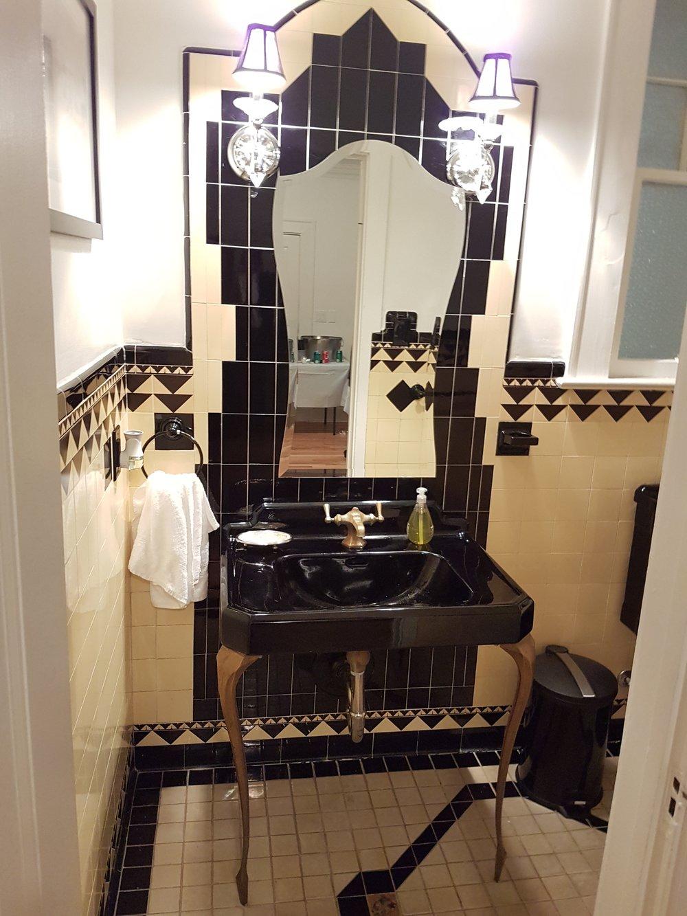 Art Deco bathroom off main living room in Al Capone's Miami home.