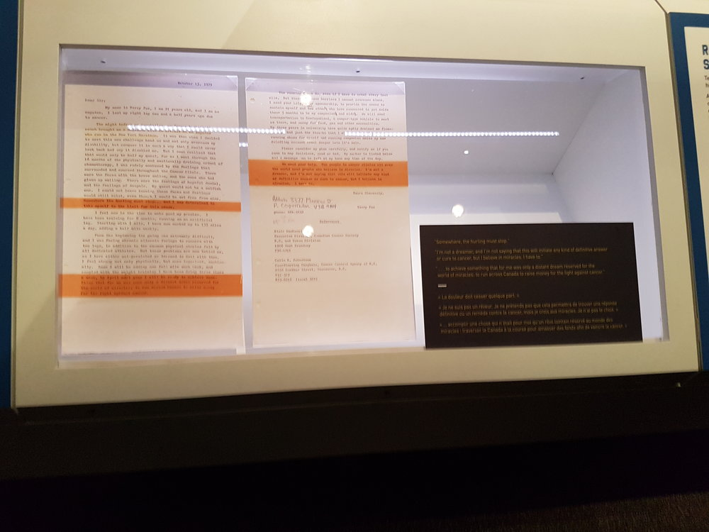 Terry Fox Exhibit: Running To The Heart of Canada. This display shows the letter he wrote to Adidas asking for sponsorship before he started his run. He was asking for 26 pairs of running shoes. (Photo: Jane Adey)