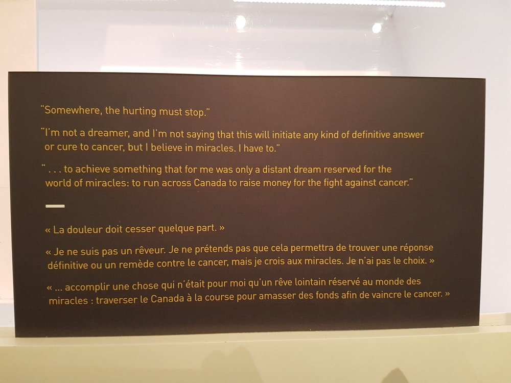 Terry Fox Exhibit: Running To The Heart of Canada. Some of the quotes form the letter he wrote to Adidas asking for sponsorship. (Photo: Jane Adey)