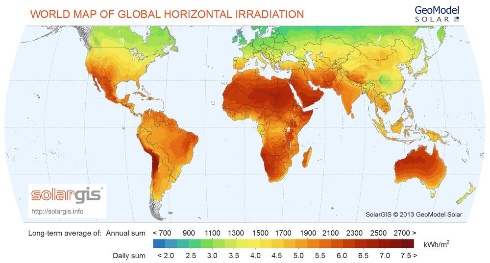 Global solar potential - solar energy in Australia makes incredible sense.