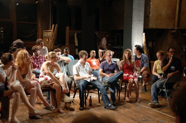 "Post-show discussion with the audience after a socially-conscious performance of International WOW Company's Reconstruction, directed by Josh Fox -- who went on to make the Emmy-winning documentary Gasland and popularized the term ""Fracking"". (2010)"