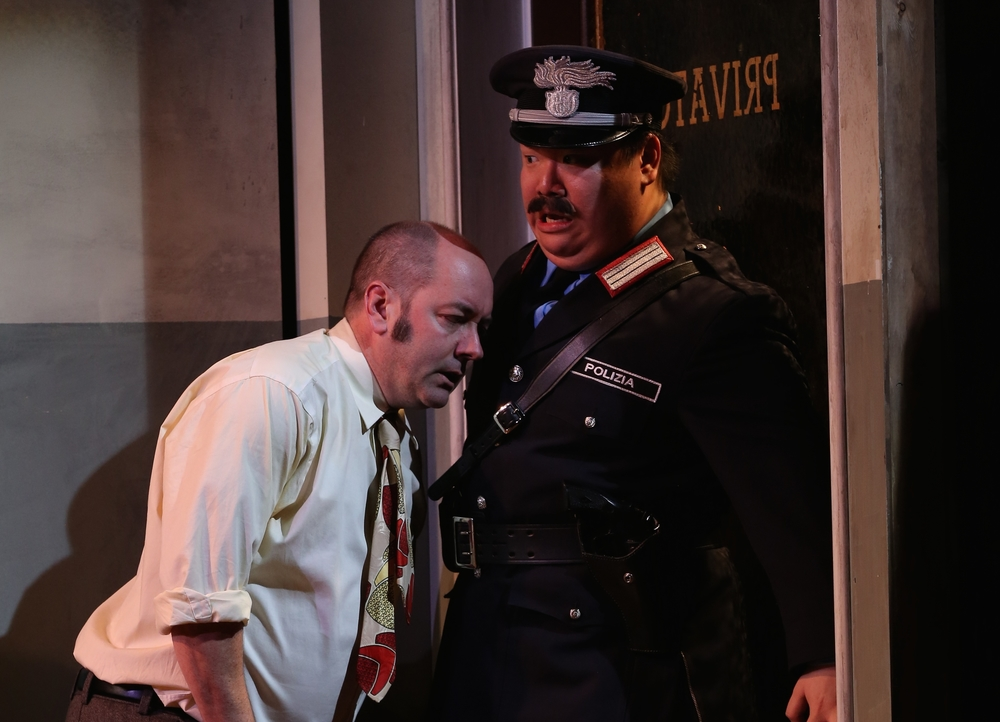 As Constable in  Accidental Death of an Anarchist , with Liam Craig's Superintendent, Berkeley Repertory Theatre, 2014.  photo: Joan Marcus