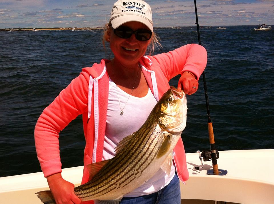 Girls can fish too! Especially Maria here with a nice Keeper Striper caught out of Newburyport, MA 6/21/2014