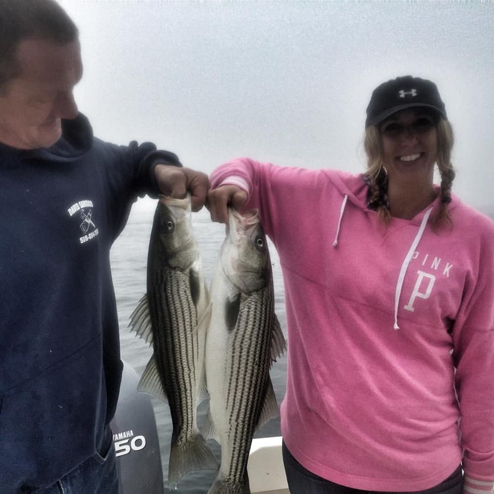 The result of a double hook up for Jeff and Shelly fishing in Newburyport!