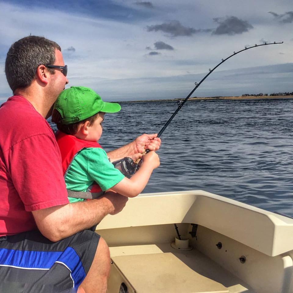 This time Grady needed help from Dad Randall while catching a striper in the Merrimack River