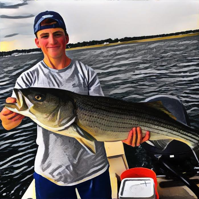"Ok Josh...we suck at harpooning makos but you made up for it with a 41"" striper!"