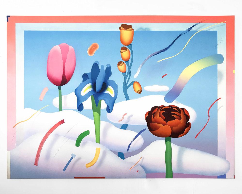 """Candy Rain""  Acrylic on Canvas. 66 x 96 Inches. 2018. $5,000"