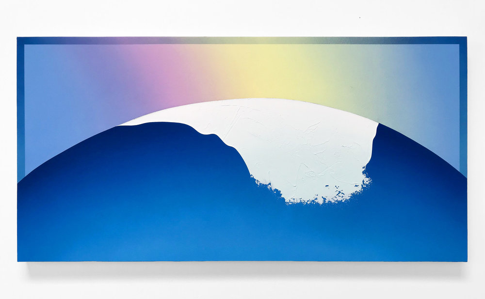 """""""It's A New Dawn, It's A New Wave""""  Acrylic on Canvas. 27 x 54 Inches. 2018. $2,500"""