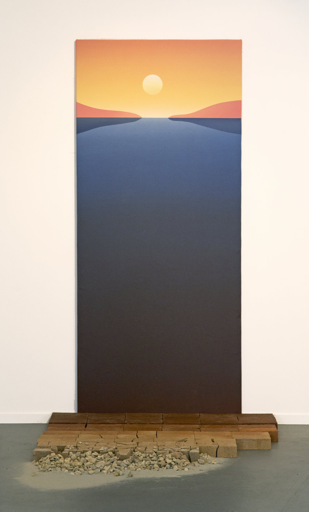 """""""Down to Earth""""  Acrylic on Canvas, (Sand Rocks and Bricks optional) 36 x 85 Inches. 2018. $2500"""