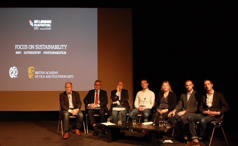 John Newbigin, Creative England; David Wright, Pinewood Studios; Derek Watts 3 Mills studios; David Neilson,  Filming Scotland; Melanie Dicks, Greenshoot; Aaron Matthews, sustainable production at the BBC and BAFTA and Dan Simmons, Creative Skillset at the BFI's Focus on Sustainability event. Photo via Jenny Greenwell, Eco-Age