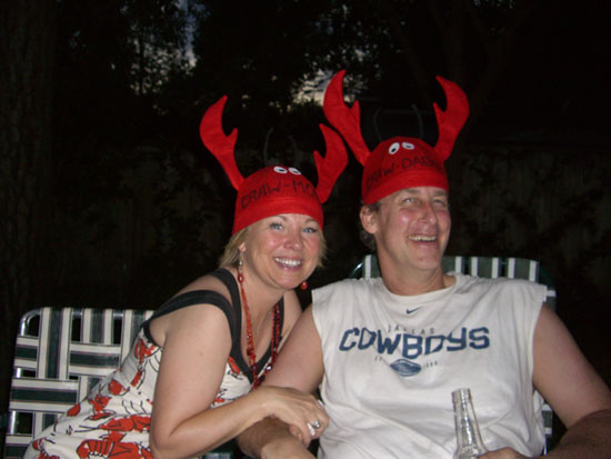 Greg and me in our Craw-Daddy & Craw-Momma hats. :)