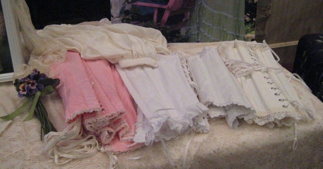 She brought all kinds of Victorian corsets and undergarments to show us.