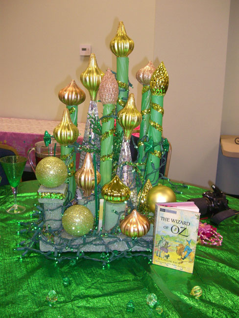 Each of the Book Clubs decorated their table for the party. They were all beautiful and so creative. This one is the Emerald City.