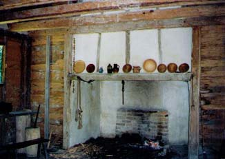 This is a typical fireplace in a wattle-and-daub cottage. Drew's was a bit nicer. His had a hearth.