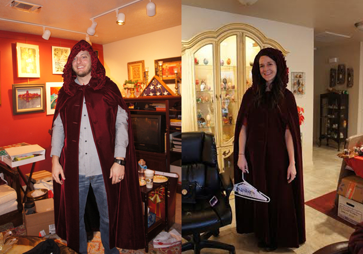 My nephew opened a red velvet cape, which was stolen by my daughter-in-law.