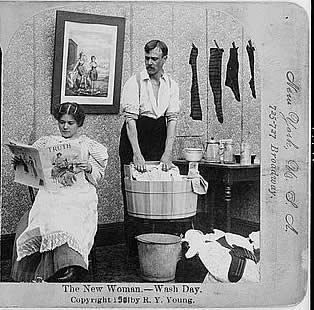 """Image depicting the """"New Woman"""" on wash day, Library of Congress, LC-USZ62-75653"""