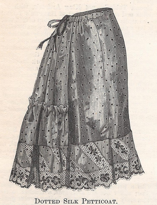 Dotted silk petticoat. Look at all that embroidery!