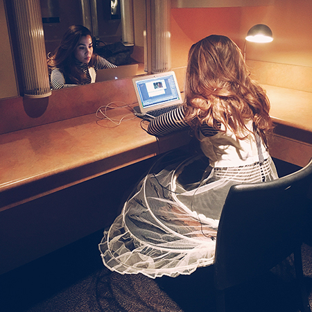 My castmate snuck this photo of me in my rehearsal dress making .GIFs