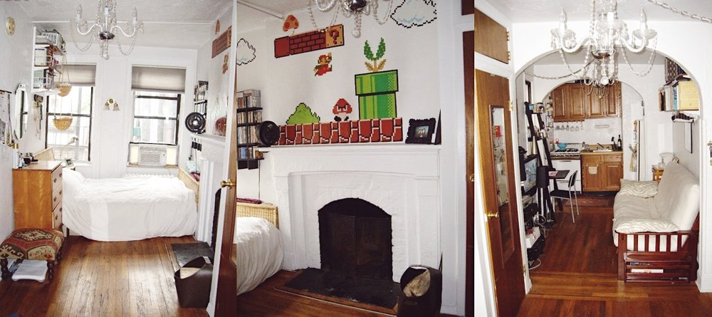 My itty bitty NYC studio apartment from that time. I eventually got approved for my own place thanks to my mom's NJ-based friend who SO kindly agreed to serve as my guarantor. If it looks like the whole place was crooked, that's because it was. (If you placed a pen along the fireplace wall, it would roll to the other side!) Friends stayed over all the time, hence the futon. I decorated my working fireplace—the crown jewel of the space despite the fact that when it rained, it'd literally rain straight through, into the apartment—with decals from the Nintendo store. :)