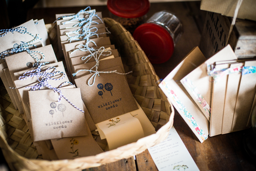 wildflower seed packets and brown paper notebooks