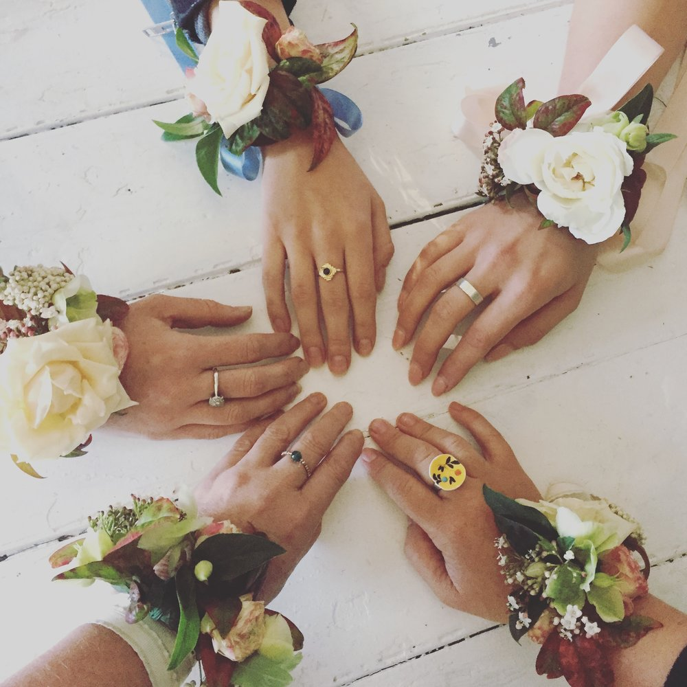 All for one and one for all...... we did NOT let those dreaded wrist corsages beat us!!!!