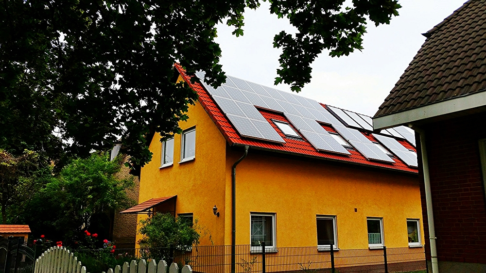 A home in with solar panels in Berlin, Germany