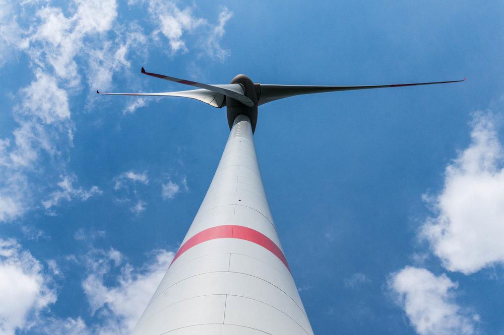 A wind turbine in Saerbeck, Germany