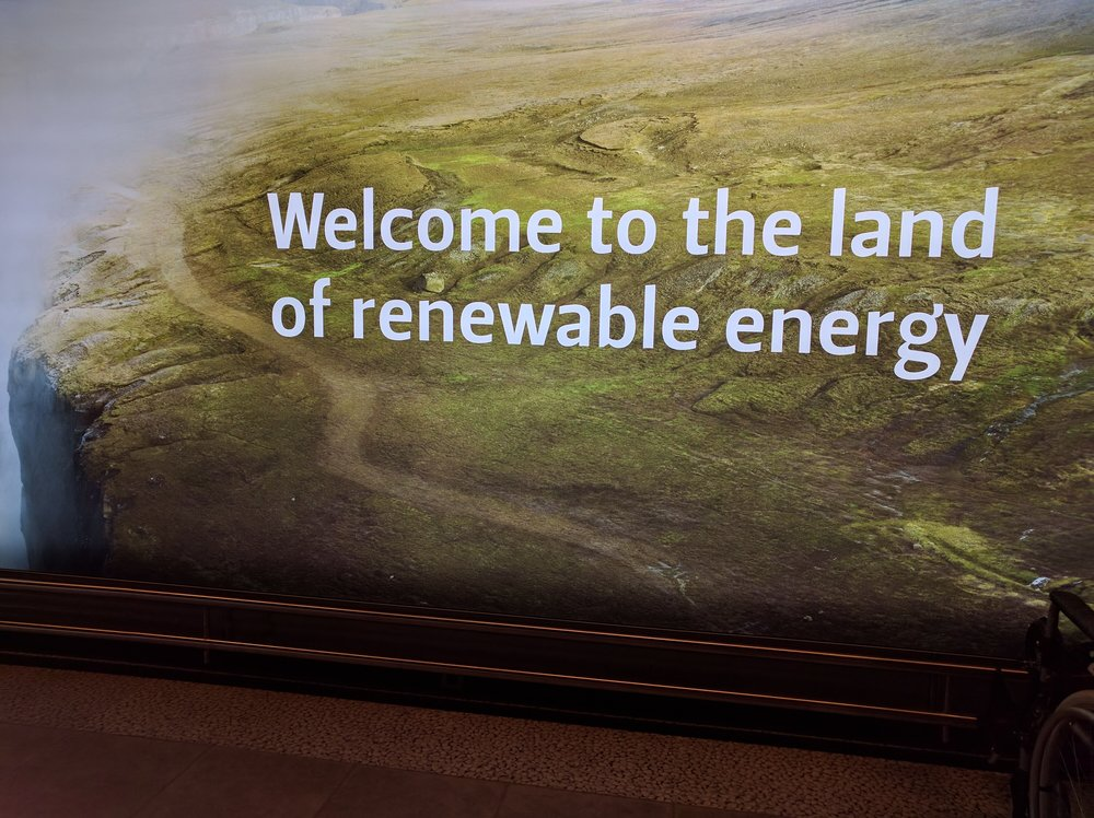 A sign greeting travelers at Keflavik International Airport in Iceland