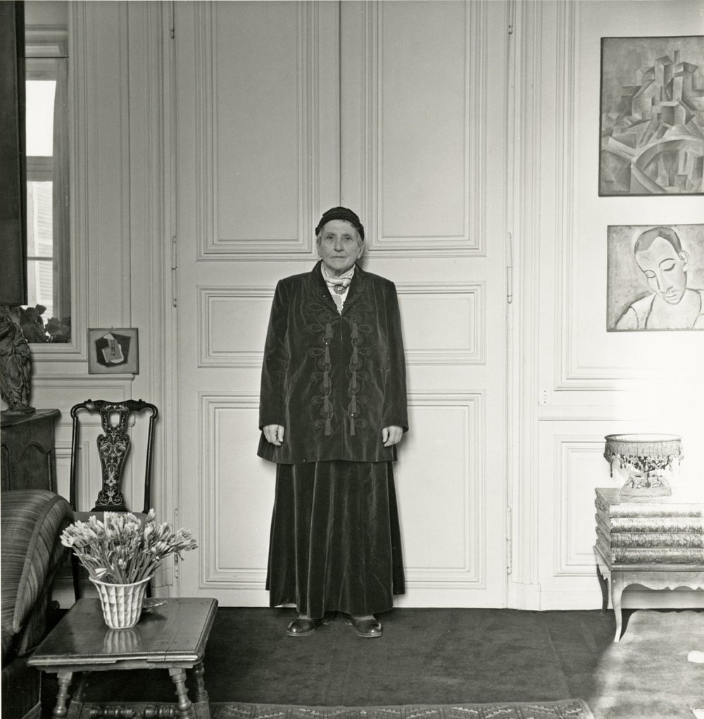 Gertrude Stein wearing Balmain suit, photographed by Horst. P. Horst, 1946.
