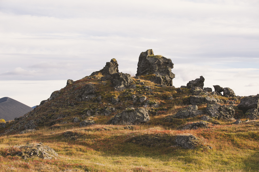Dimmuborgir; is a large area of unusually shaped lava fields east of Mývatn in Iceland.