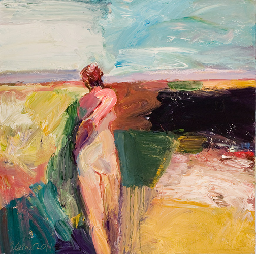 """""""Turning Away"""" painting by Lin Fischer"""