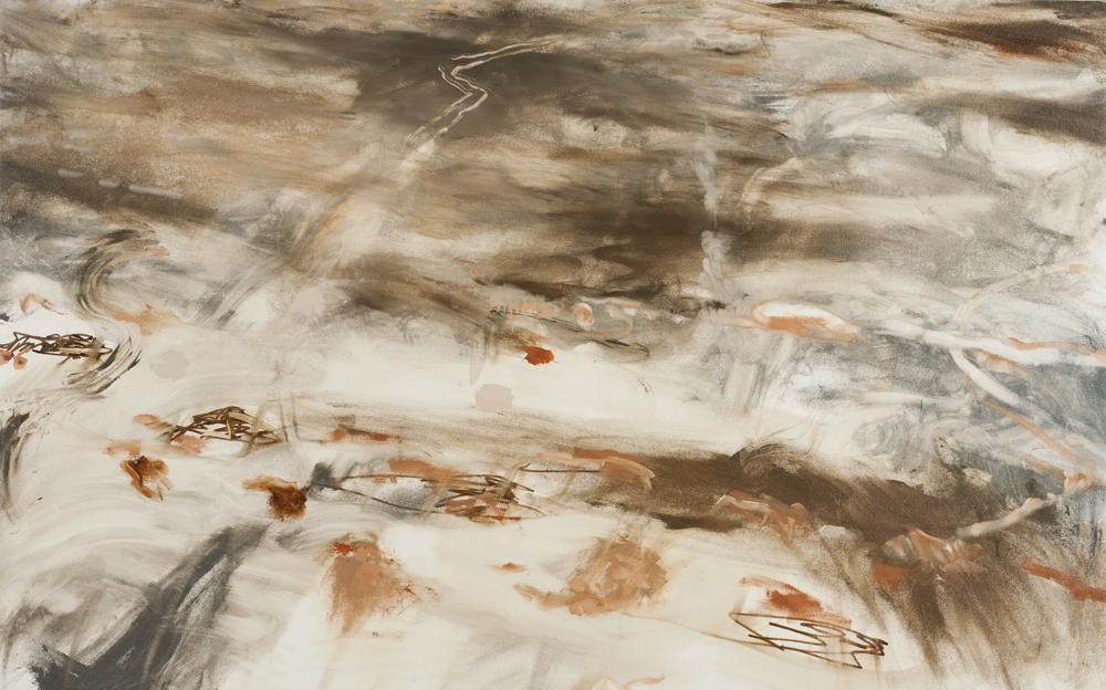 """Ocean Shores FOG 1, oil on canvas, 34""""h x 55""""w"""