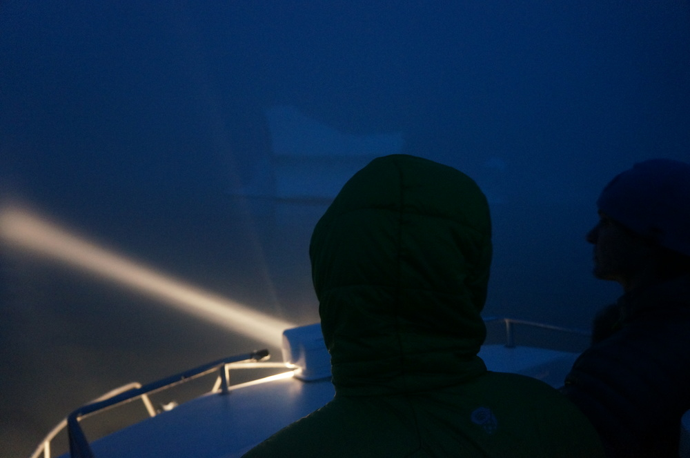 Dodging icebergs in the dark in Greenland