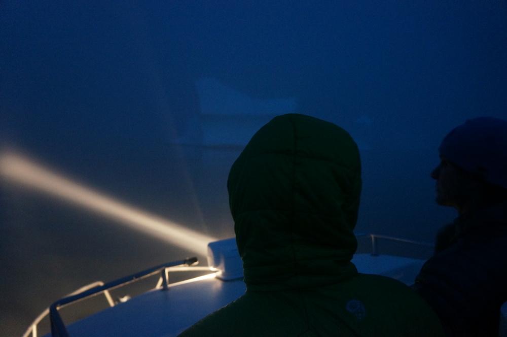 Dodging icebergs in the dark in Greenland
