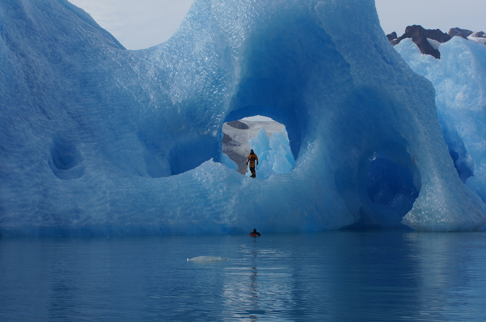 Mike Libecki on an iceberg in Greenland
