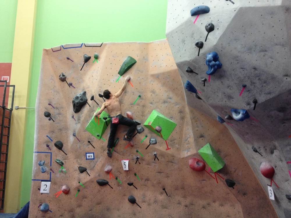 Carlo sending the 6-point boulder