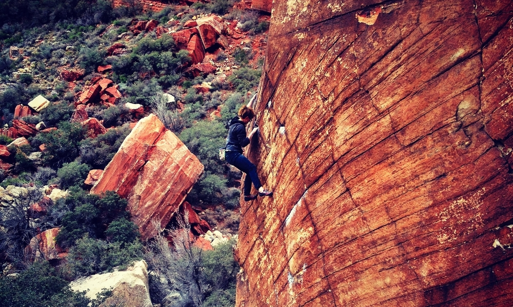 Flannery Shay-Nemirow climbs Natasha's Highball in Red Rocks, NV