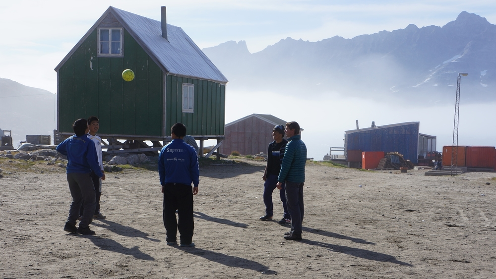 Playing soccer with the locals in Southeast Greenland