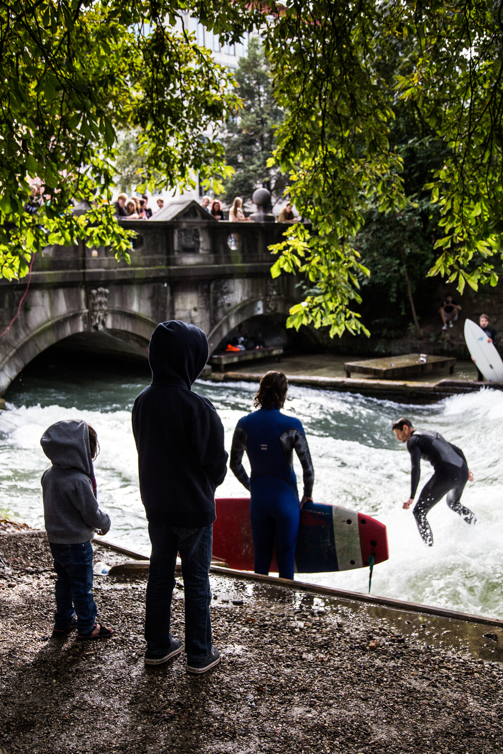 Watching the river surfers.