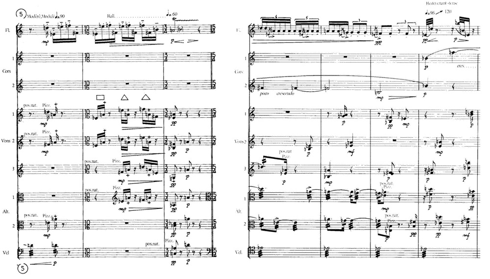 Example 9:   Comparing pizzicato independence. (L) Reh. 5, (R) Reh. 23. (Violins 1 & 2 are playing pizzicato, as well as the violoncello.) Pierre Boulez,   M  émoriale.