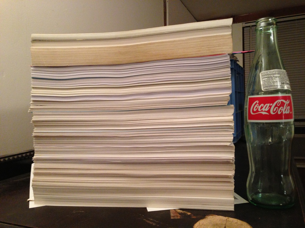 All of the music I wrote between 1993 and 2001. It's stacked as high as a Mexican Coke bottle and I know a few pieces are missing from the pile; it's also double-sided.