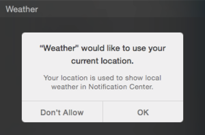OS X Yosemite Public Beta 3 Location Privacy Weather Prompt