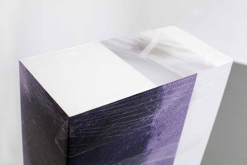 Sweaty Sculpture (slide), 2013 polystyrene blocks, cellophane and ultrachrome prints (partly laminated), sponge, size 101 x 60 x 60 cm