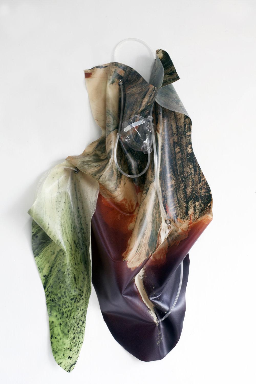 Petrified Sensibilities 02 , 2017. Sculpture; Inkjet print on latex, oxygen mask, oxygen tubing. 80 x 40 x 11 cm. Unique