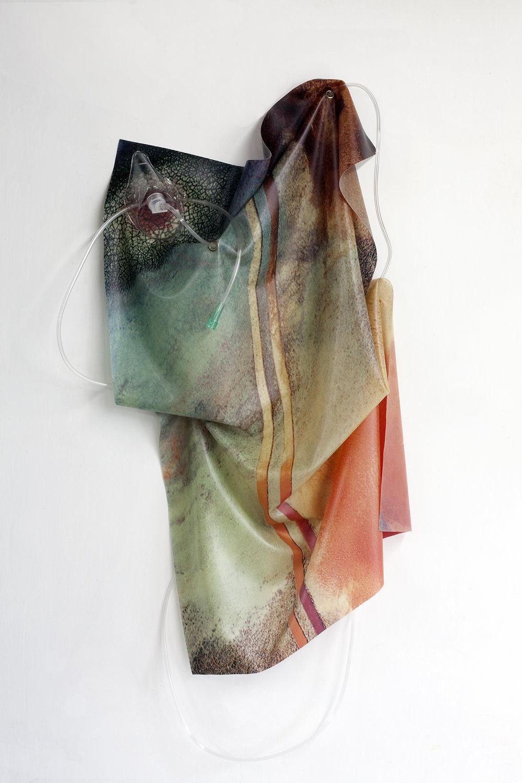Petrified Sensibilities 01 , 2017. Sculpture; Inkjet print on latex, oxygen mask, oxygen tubing. 86 x 50 x 14 cm. Unique